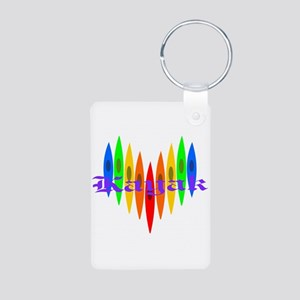 Rainbow Kayaker's Heart Aluminum Photo Keychain