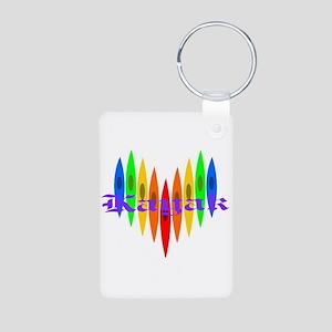 Rainbow Kayaker's Heart Aluminum Photo Keychain