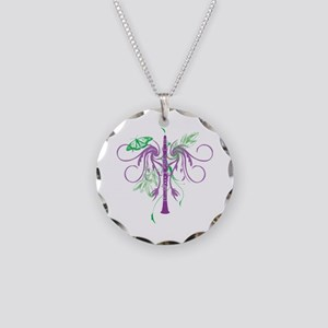 Fantasy Clarinet Necklace Circle Charm