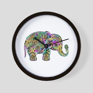 Colorful paisley Elephant Wall Clock