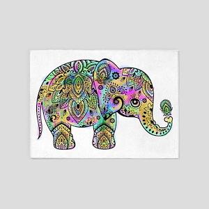 Colorful paisley Elephant 5'x7'Area Rug