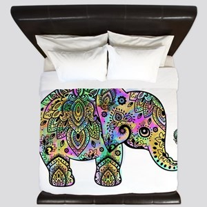 Colorful paisley Elephant King Duvet