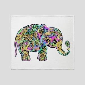 Colorful paisley Elephant Throw Blanket