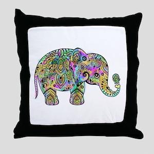 Colorful paisley Elephant Throw Pillow