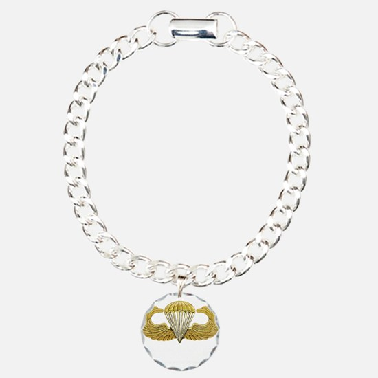 Gold Airborne Wings Charm Bracelet, One Charm
