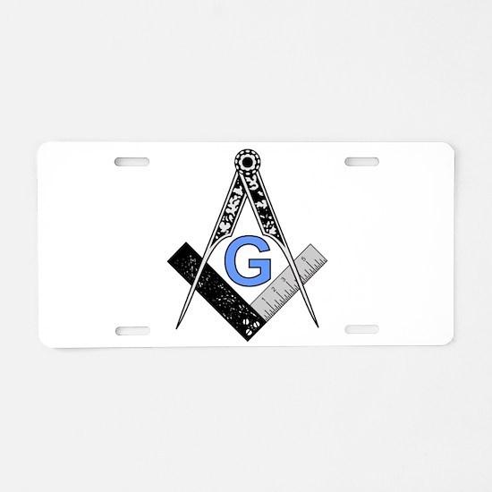 Masonic Square and Compass Aluminum License Plate