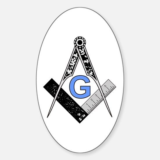 Masonic Square and Compass Sticker (Oval)