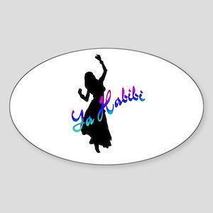 Ya Habibi white Oval Sticker