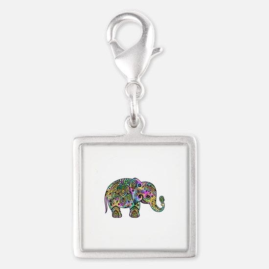 Colorful paisley Elephant Charms