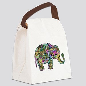 Colorful paisley Elephant Canvas Lunch Bag