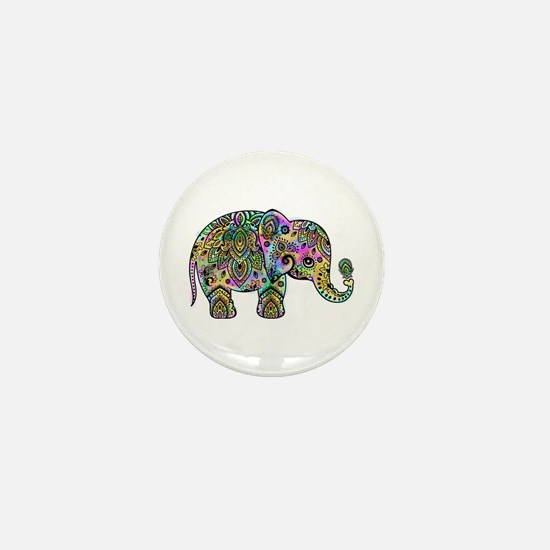 Colorful paisley Elephant Mini Button (100 pack)