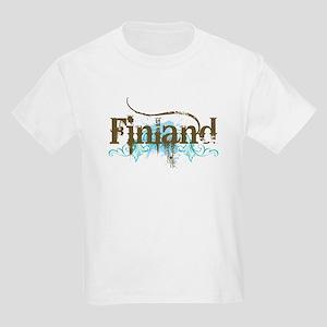 Finland Blue Grunge Kids Light T-Shirt