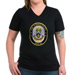 USS CONNECTICUT Women's V-Neck Dark T-Shirt
