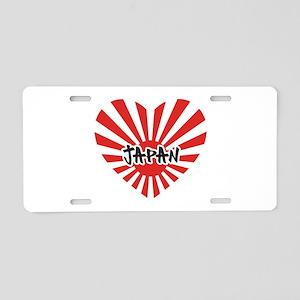 Japan Flag Love Heart Aluminum License Plate