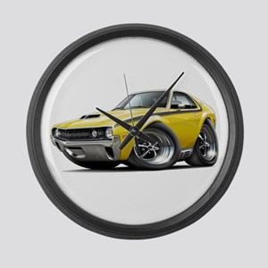 1970 AMX Yellow-Black Car Large Wall Clock
