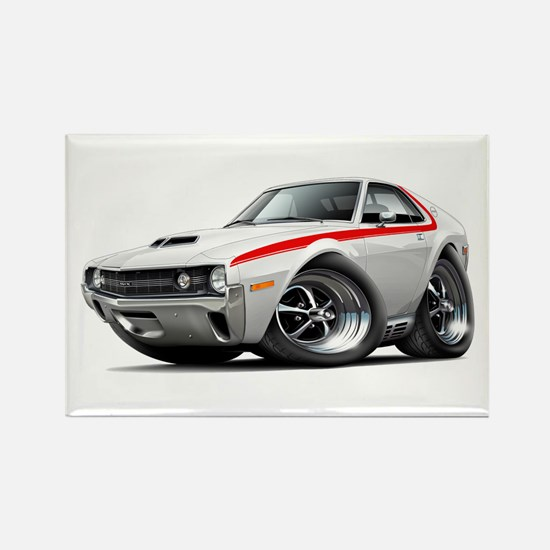 1970 AMX White-Red Car Rectangle Magnet