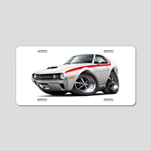 1970 AMX White-Red Car Aluminum License Plate