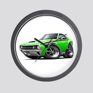 1970 AMX Lime-Black Car Wall Clock