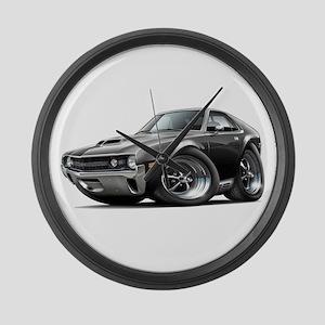 1970 AMX Black Car Large Wall Clock