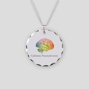 Celebrate Neurodiversity Necklace Circle Charm