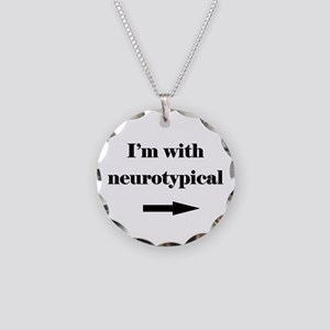 I'm With Neurotypical Necklace Circle Charm