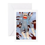 Baby Blue Sock Monkey Greeting Cards (Pk of 10)