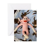 Pink Sock Monkey Greeting Card