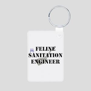 Feline Sanitation Engineer Aluminum Photo Keychain