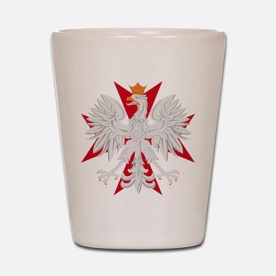 Polish Eagle Red Maltese Cros Shot Glass