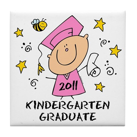 Cute Girl Kindergarten Grad 2011 Tile Coaster