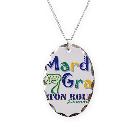 Mardi Gras Baton Rouge Necklace Oval Charm