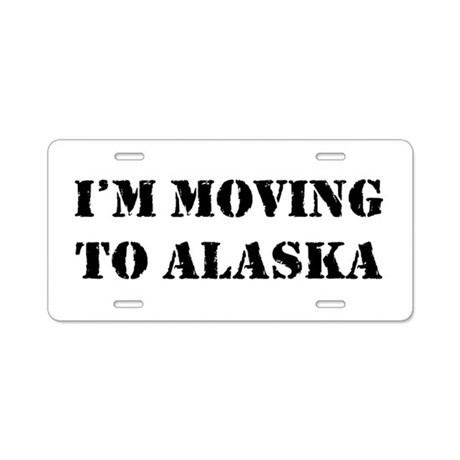 Moving to Alaska Aluminum License Plate