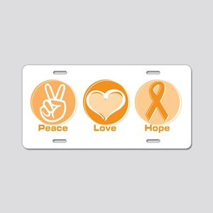 Peace Love Orange Hope Aluminum License Plate