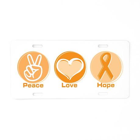 Peace Love Orange Hope Aluminum License Plate