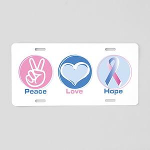 Peace Love Bl Pk Hope Aluminum License Plate