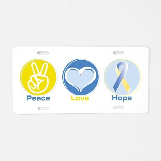 Peace Love BlueYellow Hope Aluminum License Plate