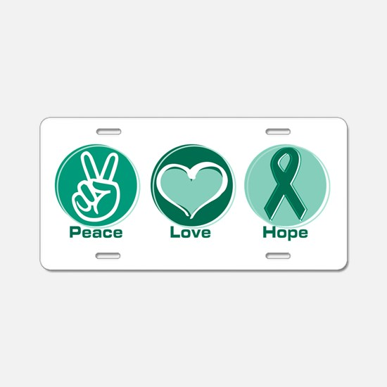 Peace Love Green Hope Aluminum License Plate