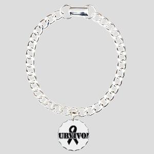 Black Ribbon Survivor Charm Bracelet, One Charm