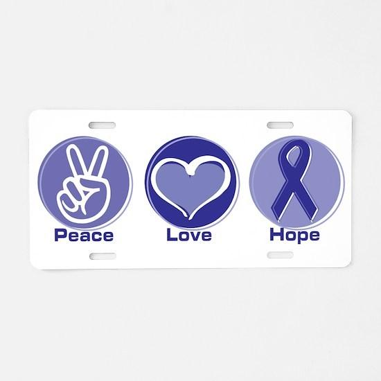 Peace Love Purple Hope Aluminum License Plate
