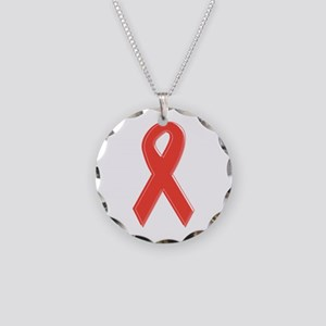 Red Awareness Ribbon Necklace Circle Charm