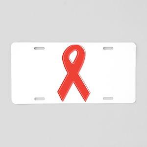 Red Awareness Ribbon Aluminum License Plate