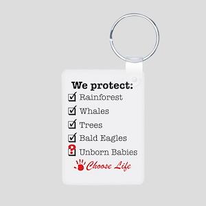 We Protect Aluminum Photo Keychain