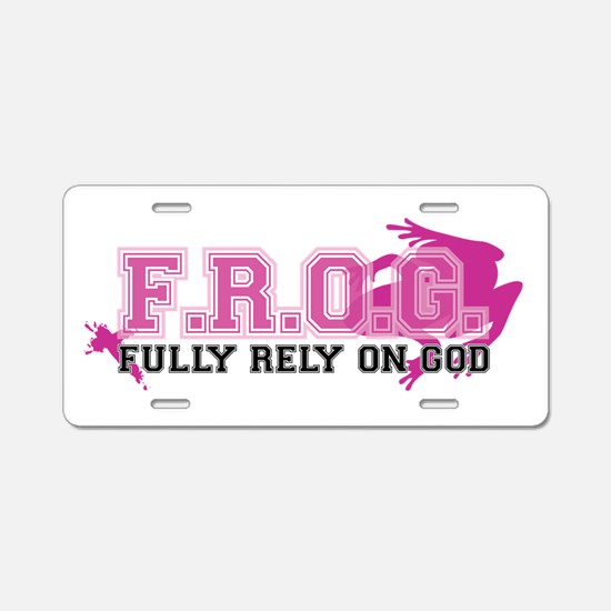 FROG pink Aluminum License Plate