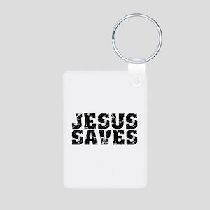 Jesus Saves bk Aluminum Photo Keychain