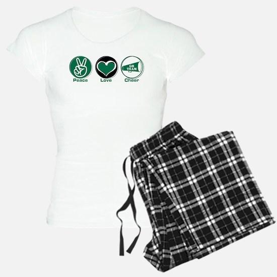 Peace Love Cheer Green Pajamas