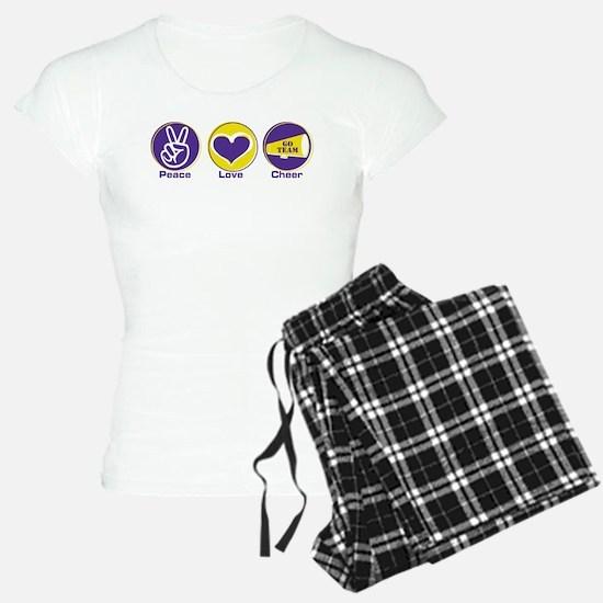 Peace Love Cheer PurYel Pajamas