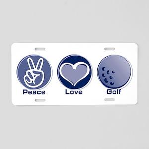 Peace Love Golf Aluminum License Plate