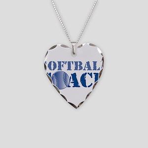 Softball Coach Necklace Heart Charm