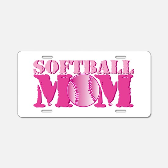Softball Mom pink Aluminum License Plate