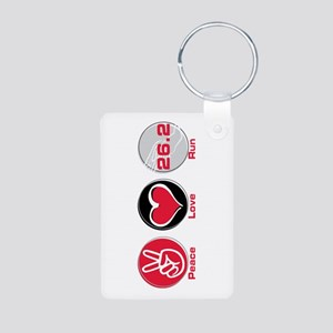 Peace Love Run 26.2 Aluminum Photo Keychain